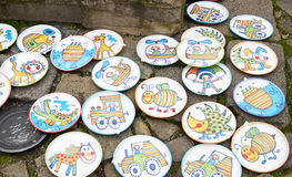 Cesky Krumlov, CZECH REPUBLIC - September 26, 2014: Souvenir plates on bohemian fair Stock Photo