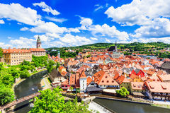 Cesky Krumlov, Czech Republic. The State Castle, St. Vitus Church and cityscape. UNESCO World Heritage Site Stock Image
