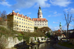 Cesky Krumlov. (Czech Republic, UNESCO) - a view of the Castle, the Old Town and the river Vltava Stock Images