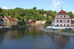 Cesky Krumlov, Czech republic. View of a beautiful medieval city of Cesky Krumlov in Czech Republic.There are many of historical buildings, including for example stock photo