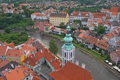Cesky Krumlov, Czech republic. View of a beautiful medieval city of Cesky Krumlov in Czech Republic.There are many of historical buildings, including for example royalty free stock image