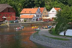 Cesky Krumlov, Czech republic. View of a beautiful medieval city of Cesky Krumlov in Czech Republic.There are many of historical buildings, including for example royalty free stock images