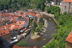 Cesky Krumlov, Czech republic. View of a beautiful medieval city of Cesky Krumlov in Czech Republic.There are many of historical buildings, including for example royalty free stock photos