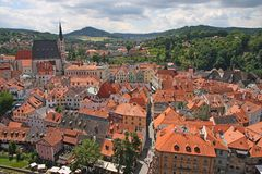 Cesky Krumlov, Czech republic. View of a beautiful medieval city of Cesky Krumlov in Czech Republic.There are many of historical buildings, including for example royalty free stock photo