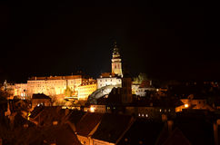 Cesky Krumlov. (Czech Republic) - a view of the Castle (UNESCO) at night Stock Photography