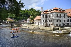 Cesky Krumlov, Czech Republic, water sport on Moldau river royalty free stock image