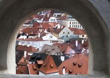 Cesky Krumlov da fenda da parede do castelo Foto de Stock Royalty Free
