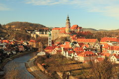 Cesky Krumlov in de winter Royalty-vrije Stock Afbeelding