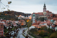 Cesky Krumlov at dusk, Czech Republic Stock Photos