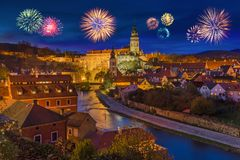 Cesky Krumlov and fireworks in Czech Republic Stock Photo