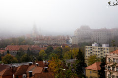 Cesky Krumlov in fogy morning. Photography of Cesky Krumlov in fogy morning stock photos