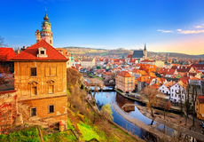 Cesky Krumlov gammal stad, Tjeckien Royaltyfria Foton
