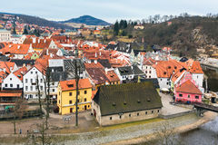 Cesky Krumlov historic center aerial view Royalty Free Stock Photography