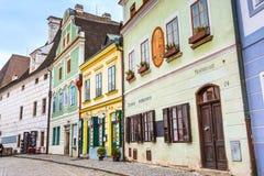 Cesky Krumlov historic center street view. Cesky Krumlov, Czech Republic - February 26, 2017: Famous landmark, historic center street view of UNESCO World royalty free stock photo