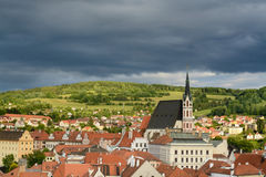 Cesky Krumlov historical center. A view of the Cesky Krumlov historical center royalty free stock image