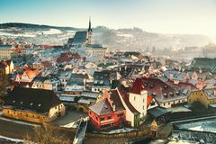 Cesky Krumlov i vintern, Tjeckien, Europa Fotografering för Bildbyråer