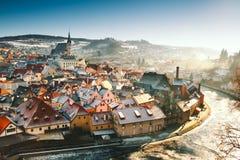 Cesky Krumlov i vintern, Tjeckien, Europa Arkivfoto
