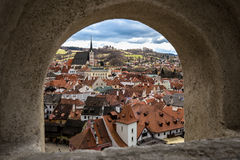 Cesky Krumlov, looking through an arrow hole Stock Photography