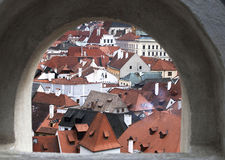 Cesky Krumlov from loop-hole from castle wall. Unesco World Heritag Royalty Free Stock Photo
