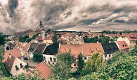 Cesky Krumlov Medieval Architecture and its Vltava River Royalty Free Stock Image