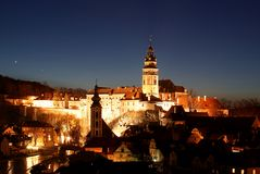 Cesky Krumlov by Night. Night view of Cesky Krumlov (Krumau am Moldau), UNESCO protected site and important place of tourism in southern Bohemia (Czech republic Royalty Free Stock Photography