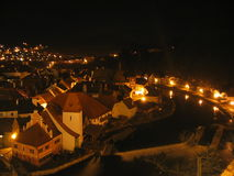Cesky Krumlov at night Stock Image