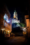 Cesky Krumlov at night Stock Photography