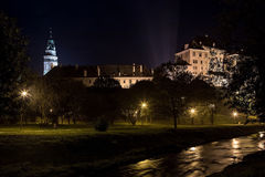 Cesky Krumlov at night Royalty Free Stock Photos