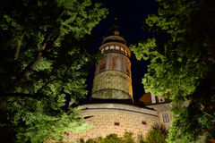 Cesky Krumlov. A nocturne view of the Cesky Krumlov castle tower royalty free stock photos