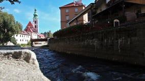 Cesky Krumlov over Vltava, Bohemia. The Český Krumlov castle. Cesky Krumlov is a small city in the South Bohemian Region of the Czech Republic where Český stock footage