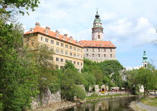 Cesky Krumlov. Palace and the Castle Tower of Cesky Krumlov, a UNESCO World Heritage Site and was given this status along with the historic Prague castle Royalty Free Stock Photos