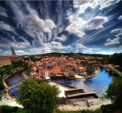 Cesky Krumlov panorama. Panoramic view of the old part of the Czech town of Cesky Krumlov Stock Image