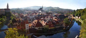 Cesky Krumlov panoramic view Stock Images