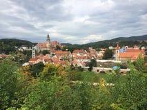 Cesky Krumlov Repubblica ceca Panorama della citt? immagini stock