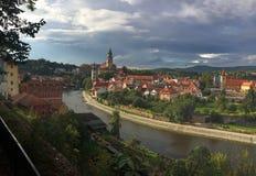 Cesky Krumlov Repubblica ceca Panorama della citt? fotografia stock libera da diritti