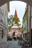 CESKY KRUMLOV, REPUBBLICA DI BOHEMIA/CZECH - 17 SETTEMBRE: Alon di vista fotografia stock libera da diritti