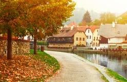 Cesky Krumlov river Vltava autumn Stock Photos
