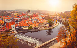 Cesky Krumlov river Vltava autumn. Czech Republic Royalty Free Stock Photos