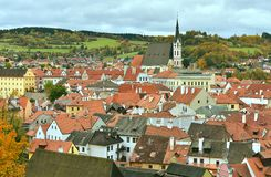 Cesky Krumlov Saint Vitus Church  Autumn. View on the historic center and St Vitus Church of Cesky Krumlov, South Bohemia, Czech Republic, Europe Stock Photography