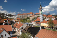 Cesky Krumlov Scenic. The red roofed town of of Cesky Krumlov is located in Southern Bohemia in the Czech Republic. It is known for its medieval renaissance and stock photography