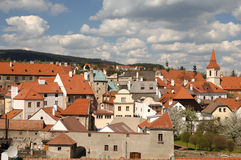 Cesky Krumlov Scenic. The red roofed town of of Cesky Krumlov is located in Southern Bohemia in the Czech Republic. It is known for its medieval renaissance and royalty free stock photo
