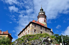 Cesky Krumlov slott Arkivfoto