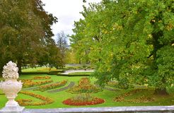 Cesky Krumlov Castle Garden Autumn. Cesky Krumlov, South Bohemia, Czech Republic, October 2017: The Sculptures in the Castle Gardens Royalty Free Stock Photo