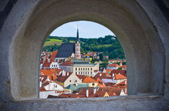 Cesky Krumlov in the stronghold wall window, Czech Republic Royalty Free Stock Photo