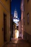 Cesky Krumlov tower at night Royalty Free Stock Photos