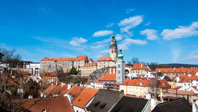 Cesky Krumlov tower wide angle Stock Images