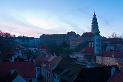 Cesky Krumlov at twilight Stock Photography