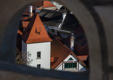 Cesky Krumlov View through the fortress stock images