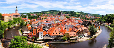 Cesky Krumlov view. Panoramic aerial view over the old Town of Cesky Krumlov, Czech Republic Stock Photos