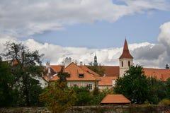 Cesky Krumlov. View. Red roofs blue sky Royalty Free Stock Photo
